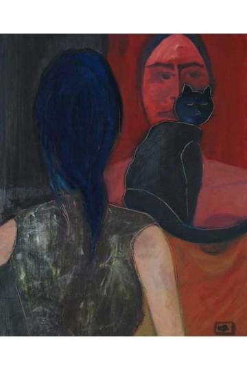Tableau à l'huile sur toile + Le chat noir