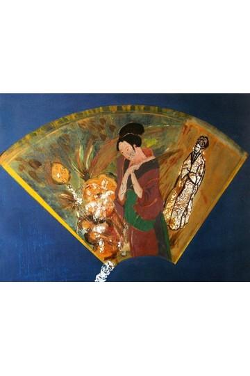 Tableau Peinture LAQUE - Prière de la geisha