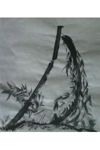 Dessin à Encre de chine + le bambou a la branche cassée