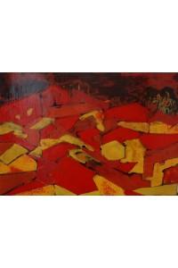 Village de nuit rouge